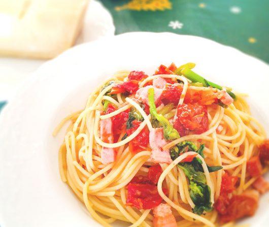 ドライトマトとベーコン菜の花のスパゲッティ